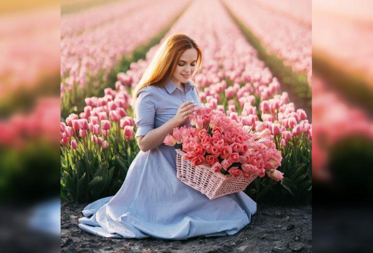 Нереально красивые фото девушек в цветочных полях